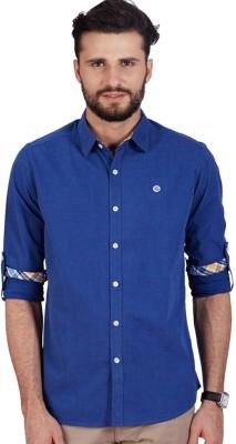 American Swan Men's Solid Casual Blue Shirt