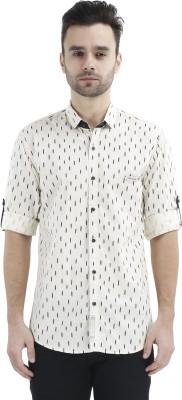 GreyBooze Men's Printed Casual White Shirt