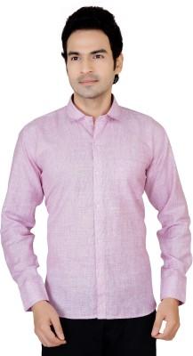 X-Secret Men's Self Design Formal Pink Shirt