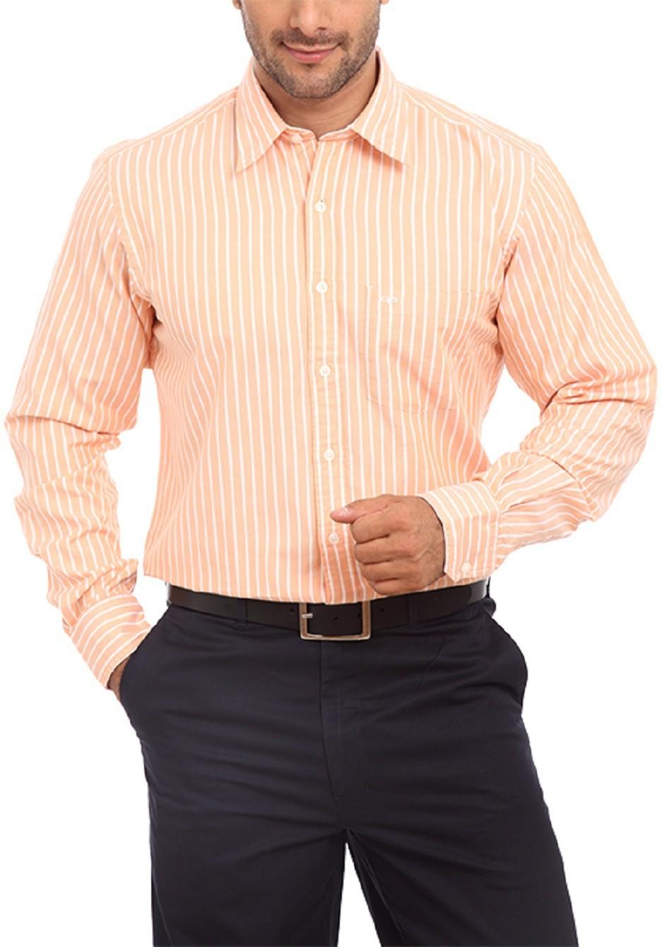 ColorPlus Mens Striped Casual Orange Shirt