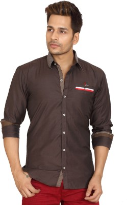 Trustedsnap Men's Solid Casual Brown Shirt