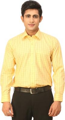 Seven Days Men's Checkered Formal Yellow Shirt