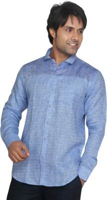 Funky Men's Printed Casual Linen Light Blue Shirt