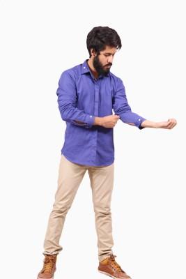 Fadjuice Men's Solid Casual Linen Blue Shirt