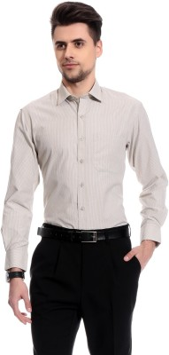 Club Avis USA Men's Self Design Formal Reversible Grey Shirt