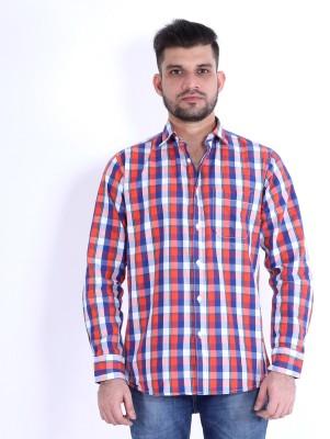 RJ MODA Men's Checkered Casual Red, Dark Blue, Pink, White Shirt