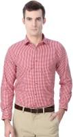 Peter England Formal Shirts (Men's) - Peter England Men's Checkered Formal Red Shirt