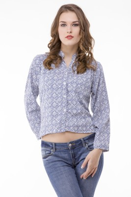 Being Fab Women's Solid Casual Blue, White Shirt