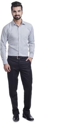 Coffee Bean Men's Striped Formal Grey Shirt