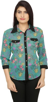 India Inc Women's Floral Print Casual Blue, Yellow Shirt