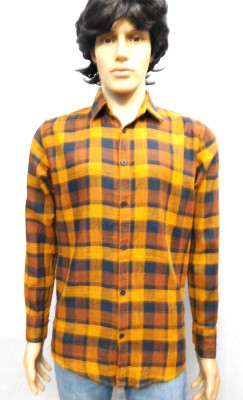 FINCH FEATHER Men's Checkered Casual Brown, Orange Shirt