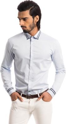 Specimen Men's Self Design, Striped Casual Blue Shirt