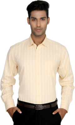 Devaa Mens Striped Formal Yellow Shirt
