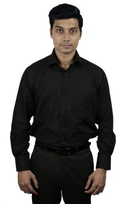 Nerellaas Men's Solid Formal Black Shirt