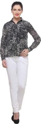 Varanga Women's Solid Casual Black, White Shirt