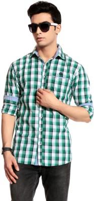 Cotton Crus Men,s Checkered Casual Green, White Shirt
