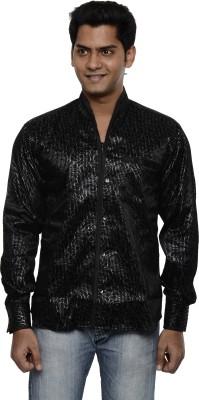 Ach Fashion Men's Self Design Casual Linen Black Shirt