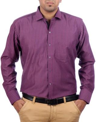 AADUKI Men's Striped Formal Purple Shirt
