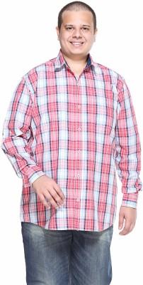 PlusS Men's Solid Casual Pink Shirt