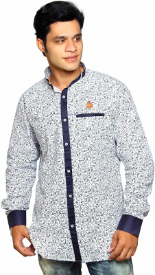Classic Blues Men's Printed Casual Reversible White Shirt