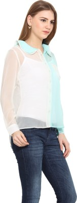 Albely Women's Solid Casual Blue Shirt