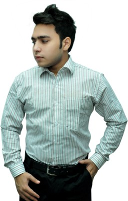 Fashion Tree Men's Striped Formal White, Brown Shirt