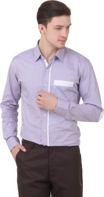 Roar and Growl Men,s Solid Casual Purple Shirt