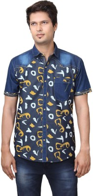 REFUEL SPORT Men's Printed Casual Denim Yellow Shirt