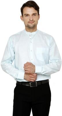 Lemon & Vodka Men's Solid Casual Linen Green Shirt