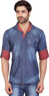 GoPlay Men's Solid Casual Denim Blue Shirt