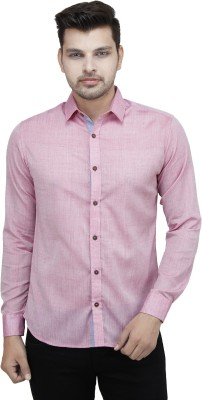Fashion Conscious Men's Solid Casual Pink Shirt