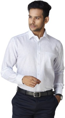 Warewell Men's Striped Formal White Shirt