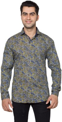 Hancock Men's Printed Casual Dark Blue, Yellow Shirt