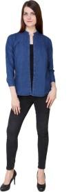 YASMIN CREATIONS Girls Solid Casual Denim Dark Blue Shirt