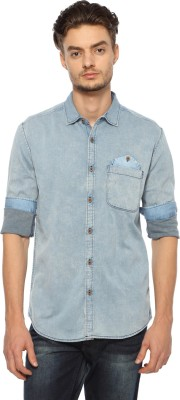 Nature Men's Solid Casual Blue Shirt