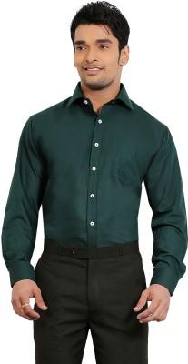A & C Signature Men's Solid Formal Dark Green Shirt