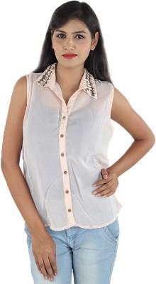 Aimeon Women's Solid Casual Beige Shirt