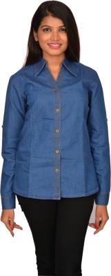 Fashion Club Women's Solid Casual Blue Shirt