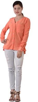 Fashnopolism Women's Solid Casual Orange Shirt