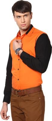 See Designs Men's Solid Casual Orange, Black Shirt