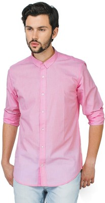 Bewakoof Men's Solid Casual Pink Shirt