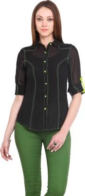 La Arista Women's Solid Casual Black Shirt