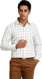 Zenrio Men's Checkered Formal White Shir...