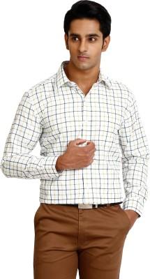 Zenrio Men's Checkered Formal White Shirt