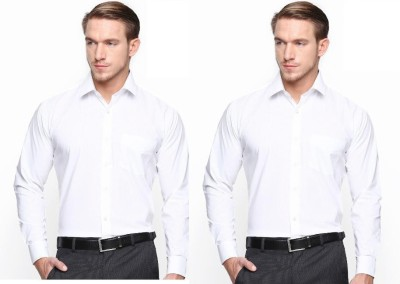 Master Classic Men's Solid Formal White Shirt