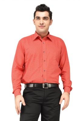 Hyphen Men's Checkered Formal Orange Shirt