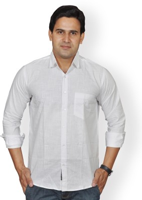 Mc-John Men's Solid Formal White Shirt