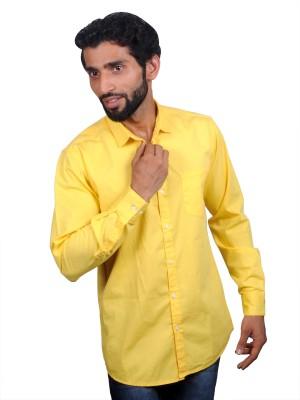 maclavaro Men's Solid Casual Yellow Shirt