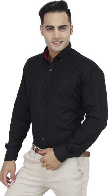 Unixx Men's Solid Casual, Formal Black Shirt