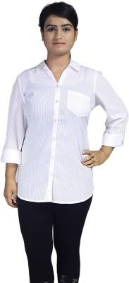 Infinitees Women's Self Design Formal White Shirt